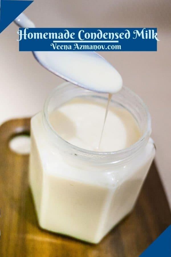 Pinterest image for quick condensed milk.