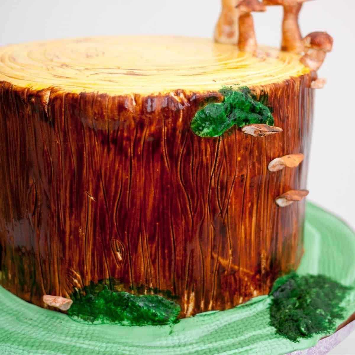 a decorated fondant tree cake