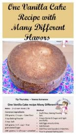 One vanilla cake recipe many different flavors is a real treat. You need one basic recipe to create many different flavors orange, lemon strawberry and more.