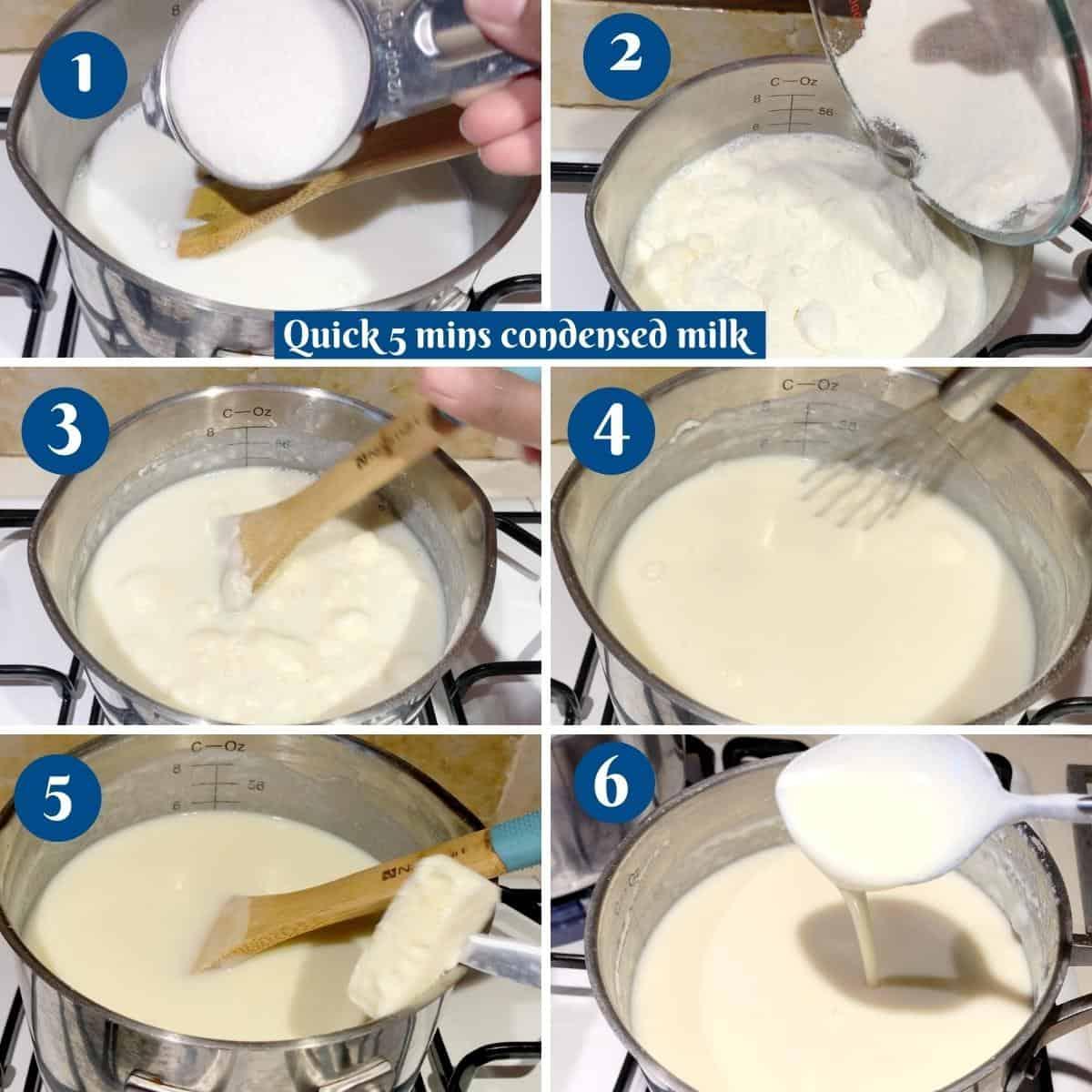 Progress pictures collage for quick condensed milk.