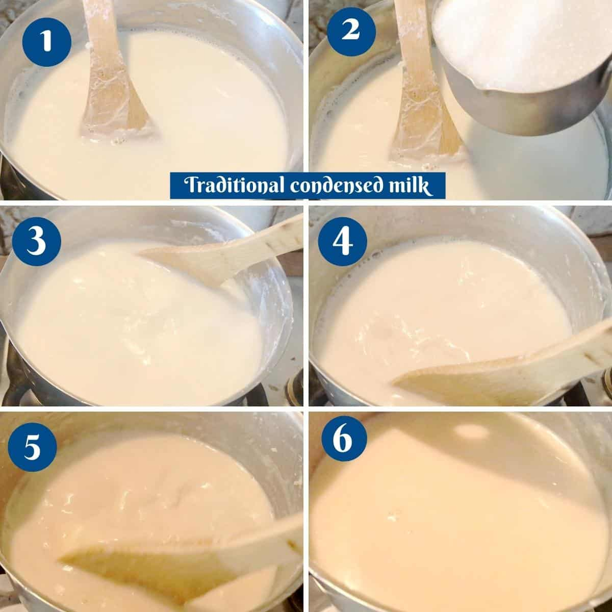 Progress pictures collage for traditional condensed milk.