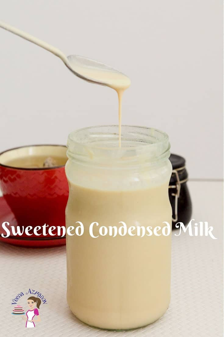 A jar of homemade condensed milk made from scratch using the traditional method