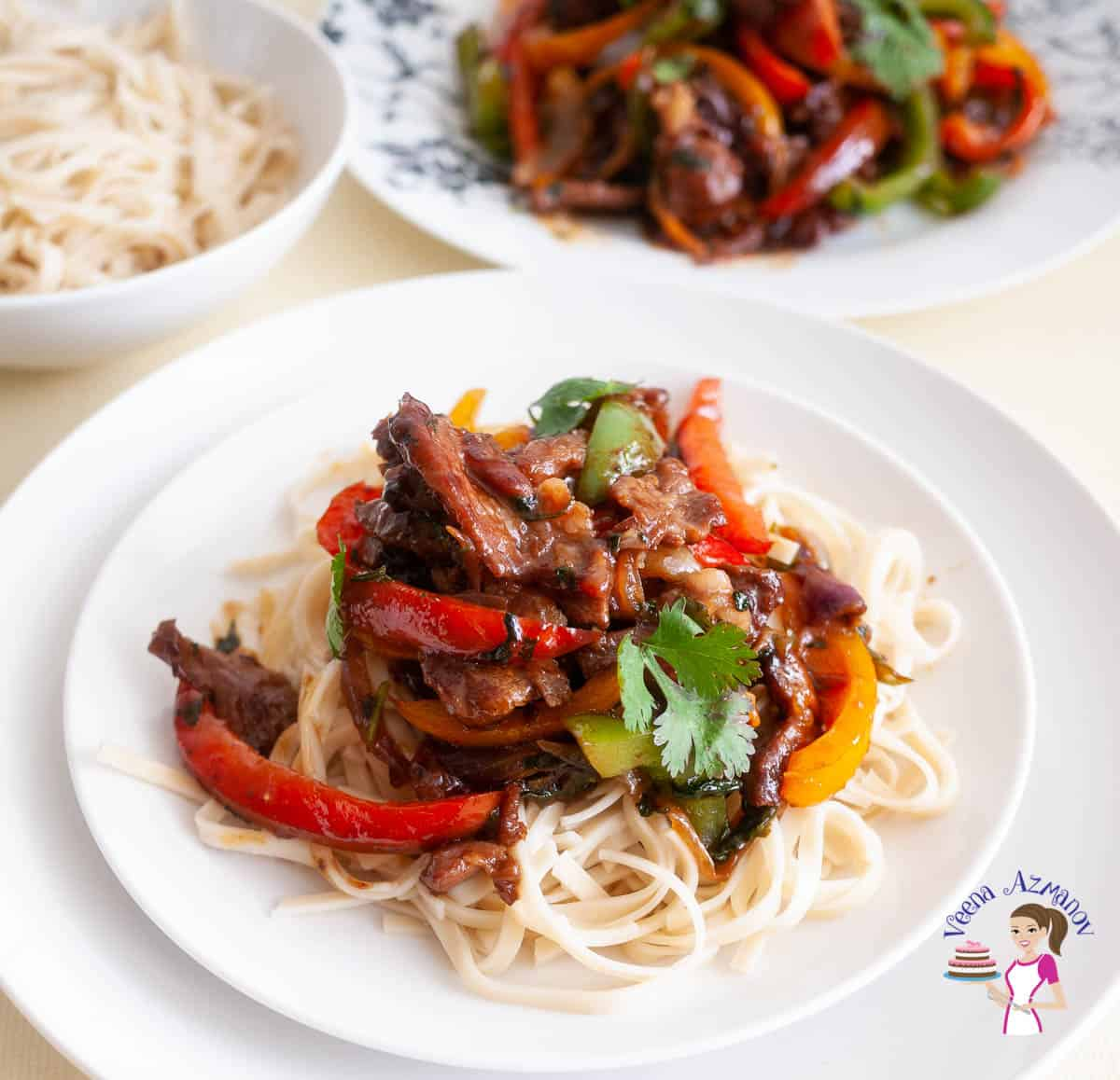 White plate with stirfry over noodles