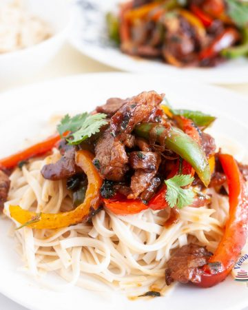 White plate with beef peppers stir fry