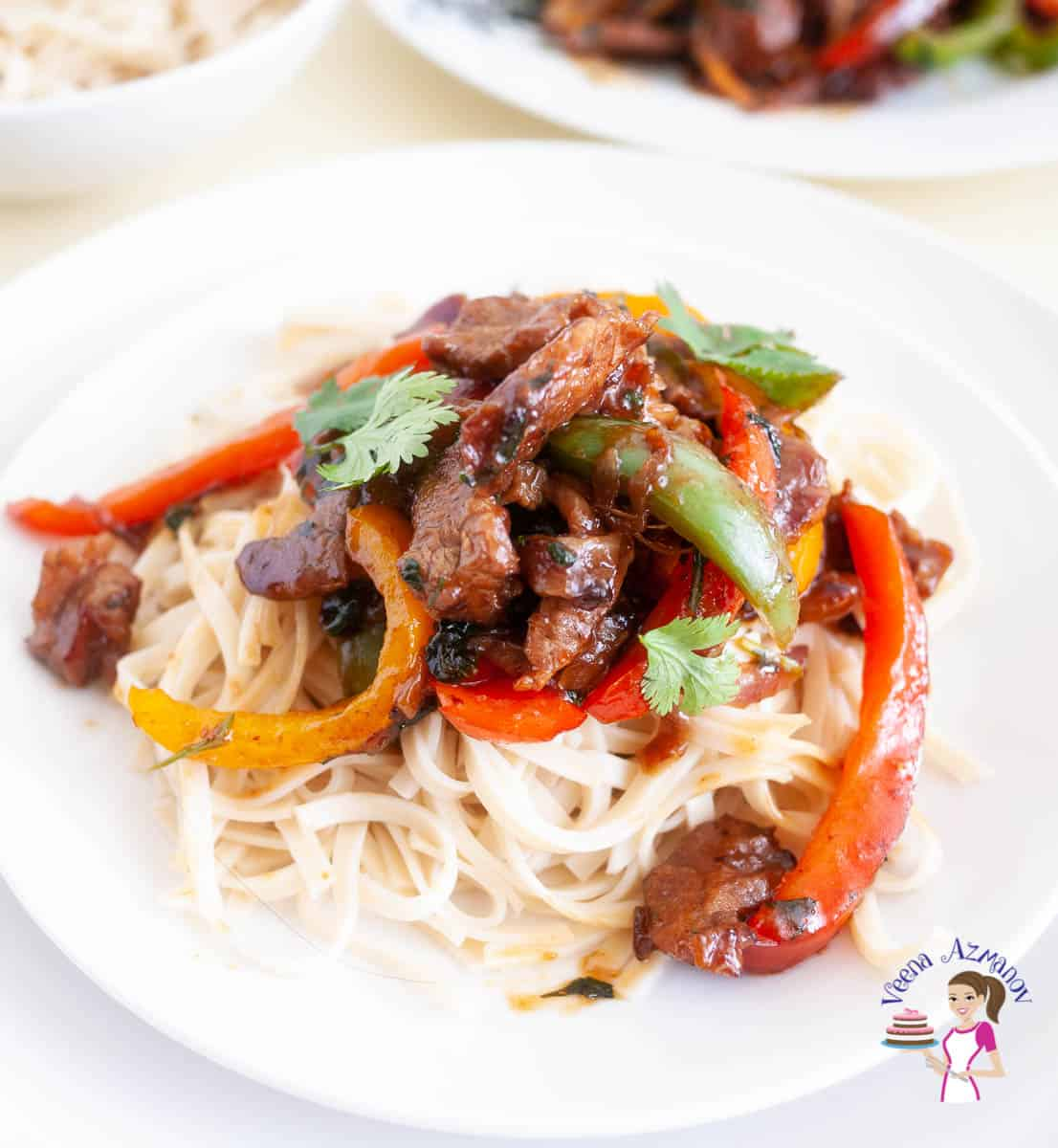 White plate with beef and peppers stir fry over noodles