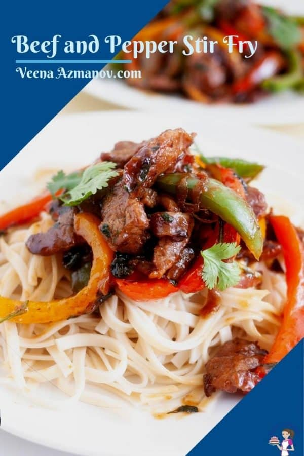 Pinterest image for beef and pepper stir fry