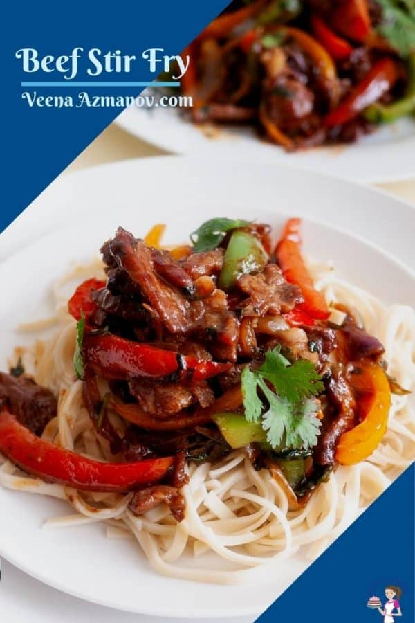 Pinterest image for stir fry with beef