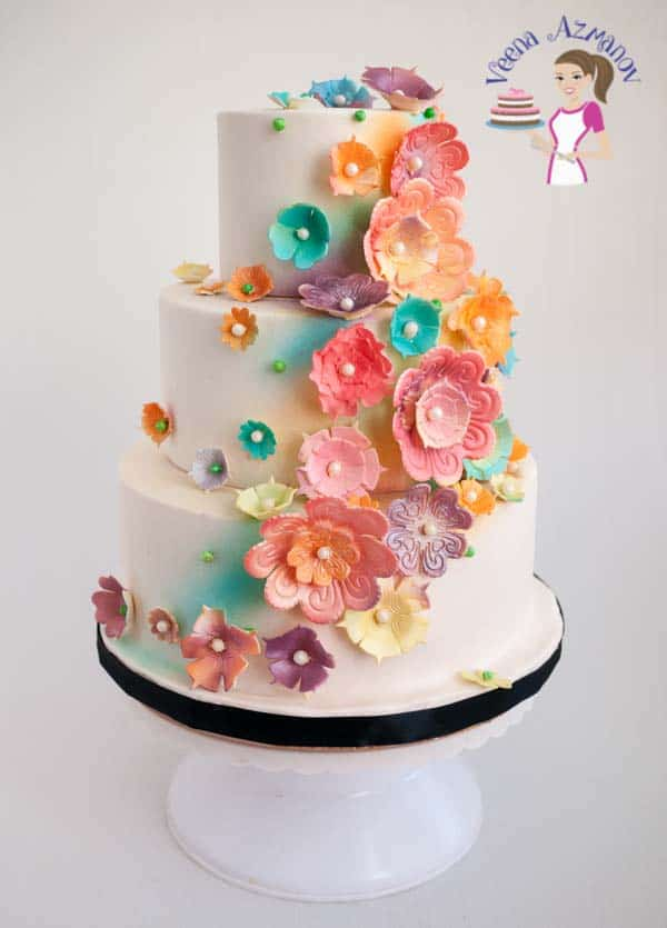 Blossoms White Wedding Cake – with colorful blossoms