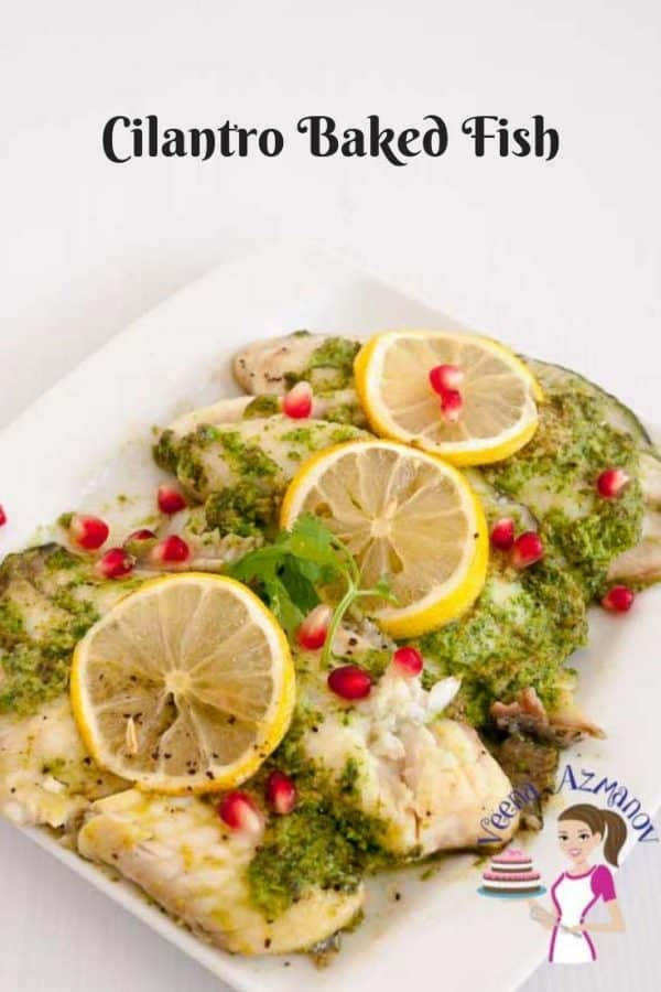 Cilantro fish fillets on a plate.