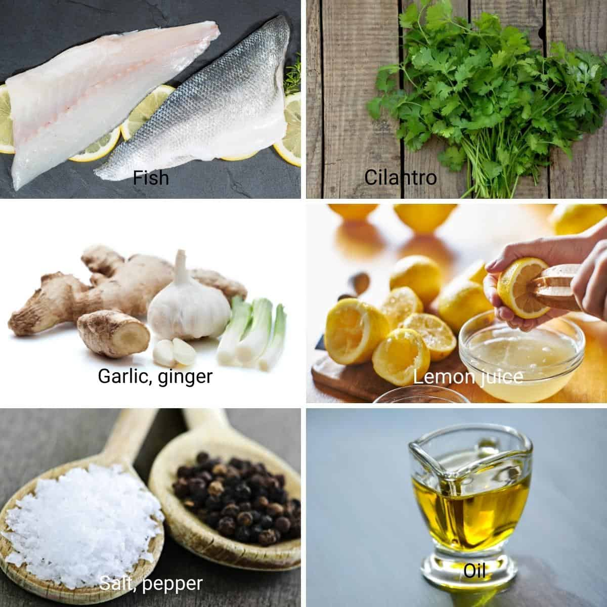 Ingredients for baking a fish fillet.