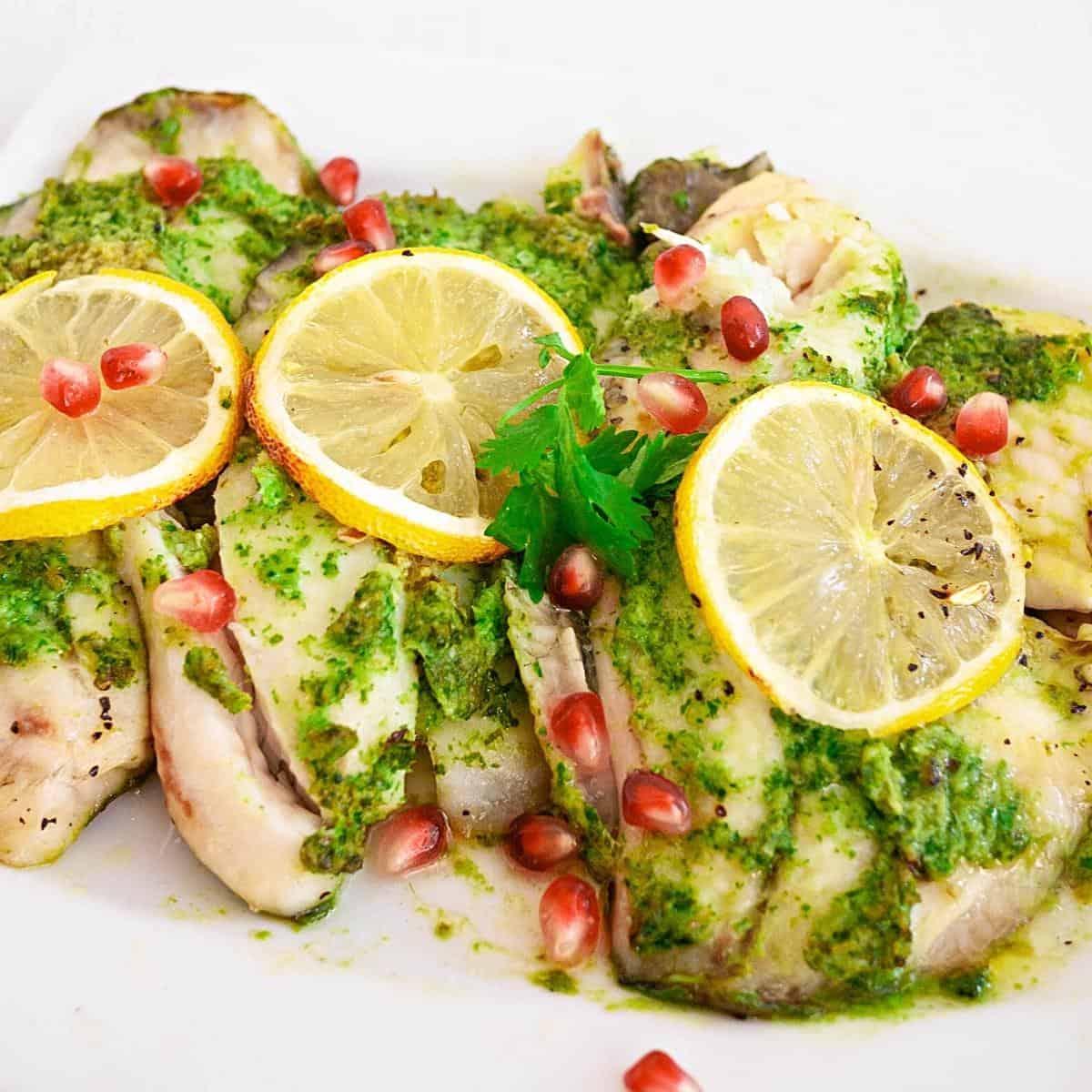 Fish fillets baked on a serving platter.