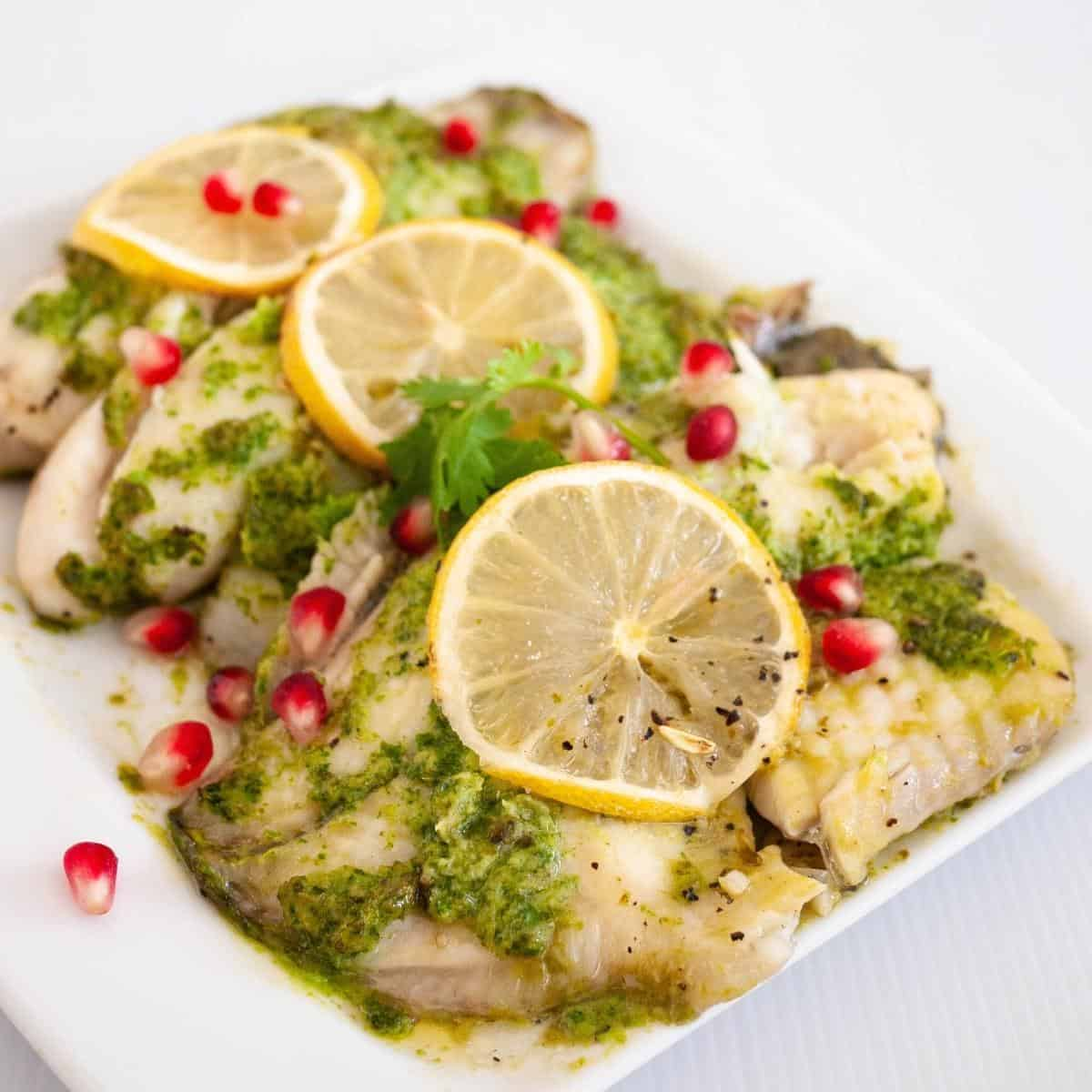 Baked fish served on a platter.
