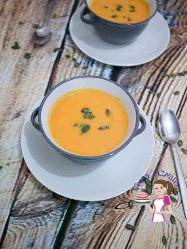 An image optimized for social media share for these simple and easy maple pumpkin soup recipe with a step by step video tutorial. A perfect fall soup that hearty and healthy