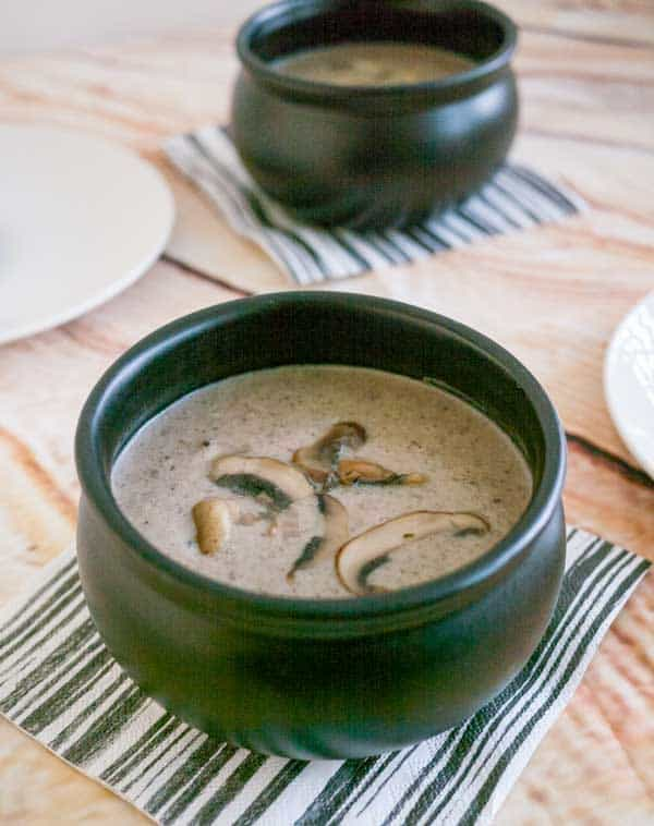A Pinterest optimized image for this simple, easy and effortless cream of mushroom recipe from scratch