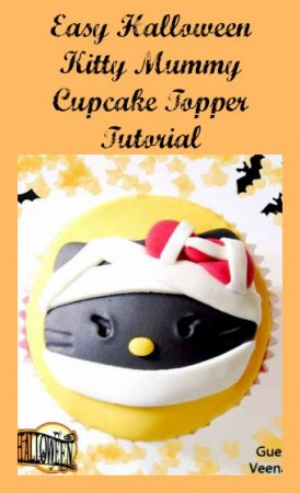 Easy Halloween Kitty Mummy Cupcake Topper Tutorial