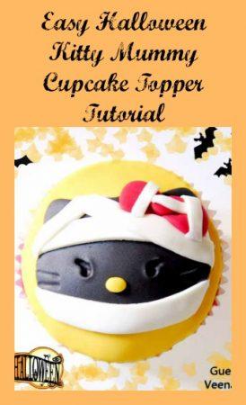 Easy Halloween Kitty Mummy Cupcake Topper Tutorial