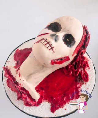 Halloween Brain Spill Head Cake