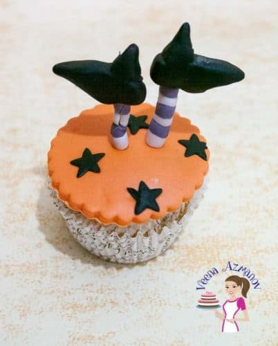 The most common; simple and easy cupcake topper that everyone loves during Halloween is a Witch's Boots Cupcake topper to top your favorite cupcakes anytime.