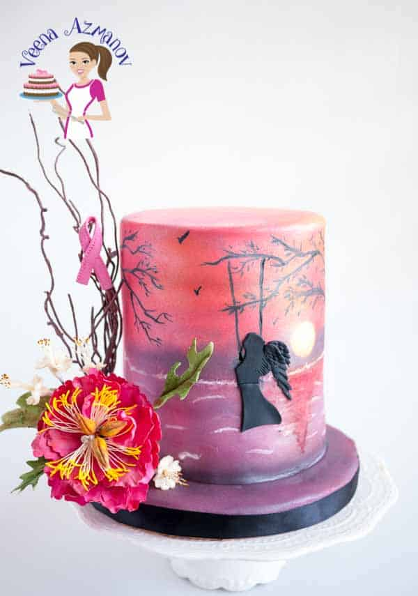 Pink Sunset Cake for Breast Cancer Awareness