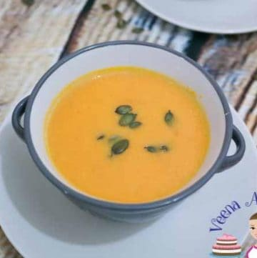 A bowl of pumpkin soup.