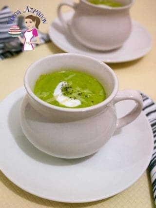 An image optimized for social media share for this healthy sweet pea soup recipe made in just 25 minutes.