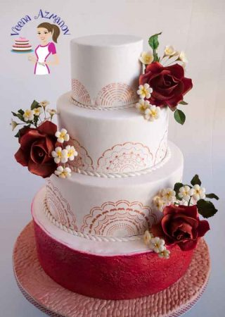 Burgundy Stenciled Wedding Cake with vintage roses
