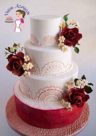 Burgundy Stenciled Wedding Cake with vintage roses