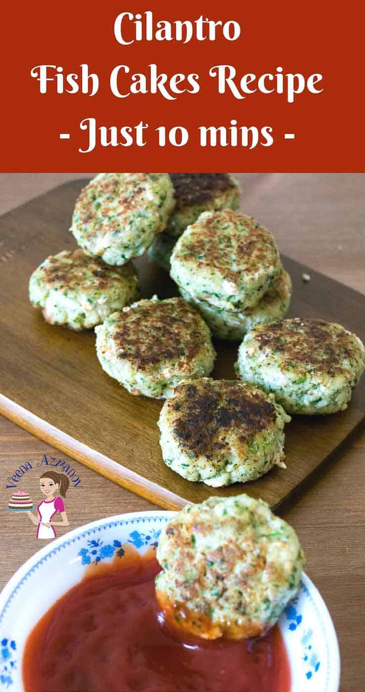 This  fish cakes recipe makes a perfect appetizer, side or even fish burger for healthy eating. Minced with onion, ginger, garlic and fresh cilantro these easy to make fish cakes are bursting with flavor. The recipe is simple, easy and effortless and gets done in in less than 10 minutes.