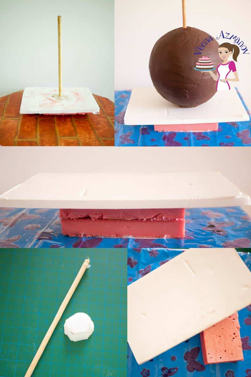 Progress photos of making a cake decorated to look like Cinderella\'s carriage.