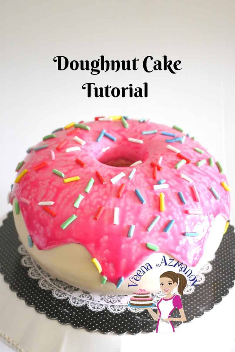 A cake decorated like a giant donut.