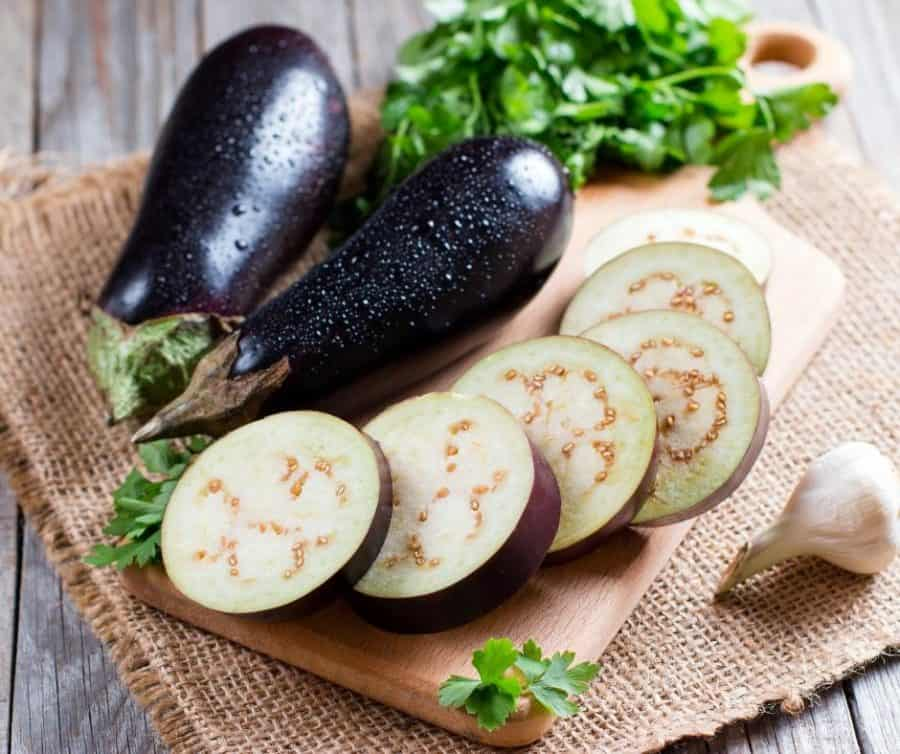 Sliced fresh eggplant.