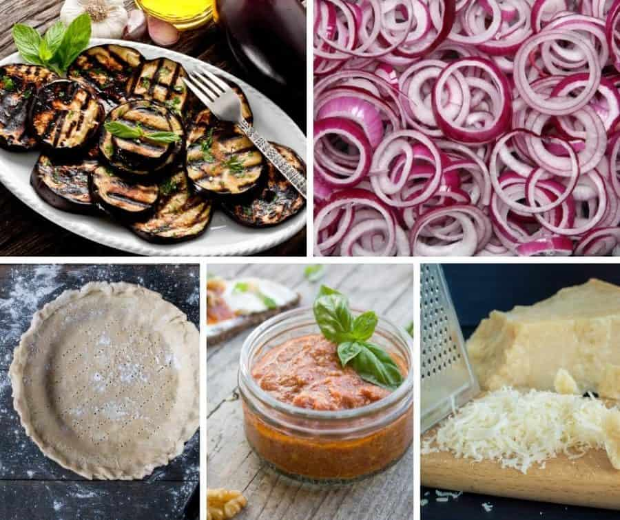 A collage of the ingredients for making an eggplant quiche.