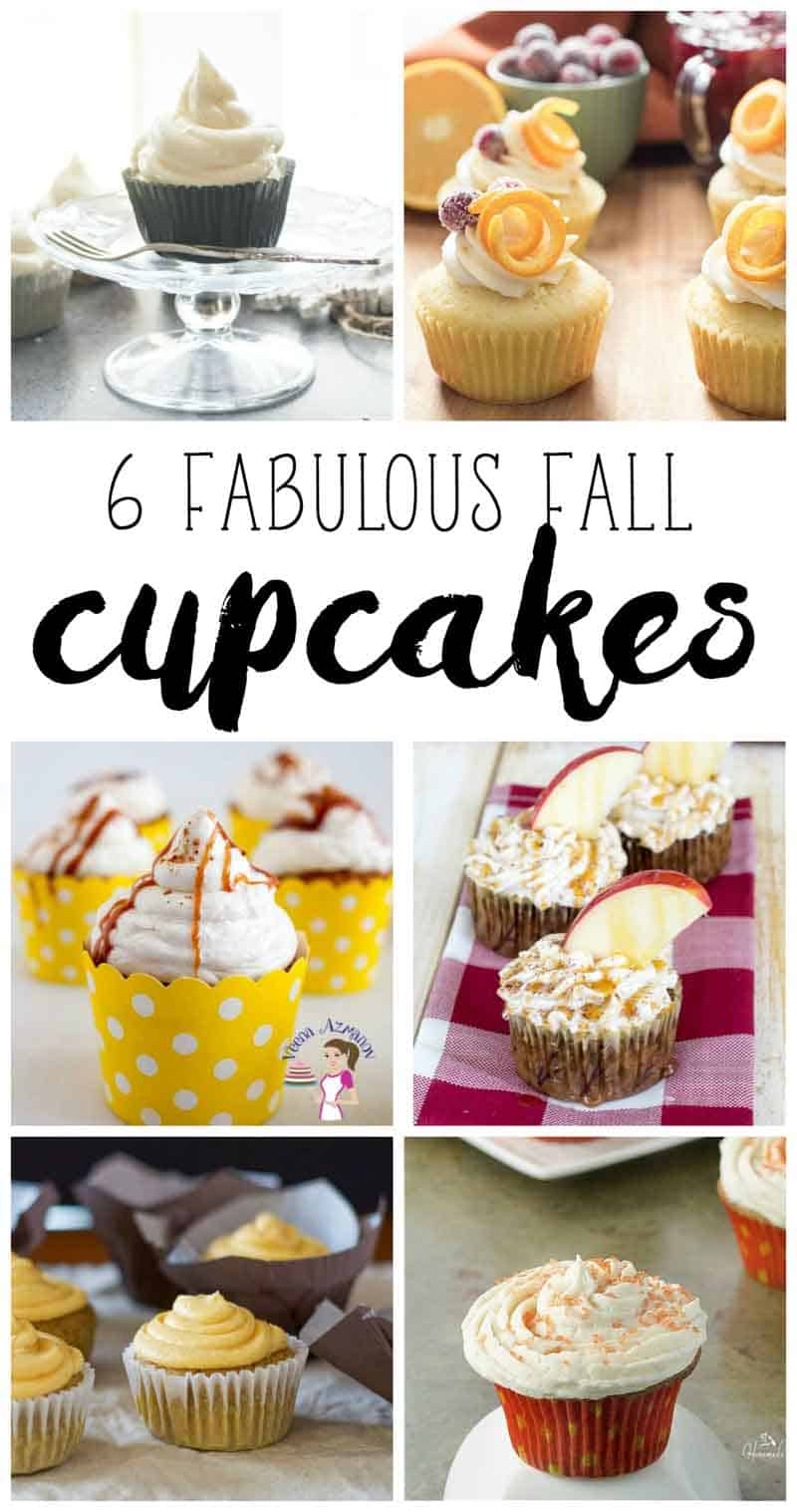 A social media optimized image for six fabulous fall inspired cupcakes with these pumpkin spiced apple cupcakes.