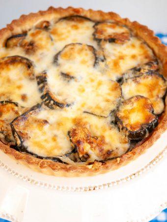 Cheesy Eggplant and Onion Quiche