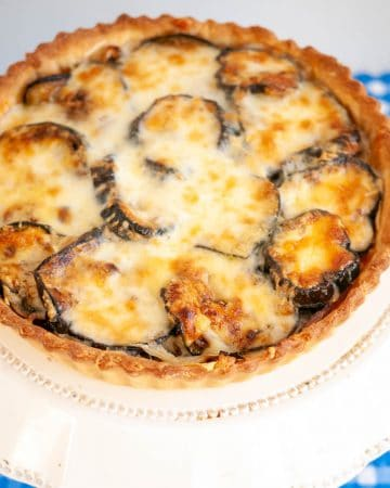 A grilled eggplant quiche.