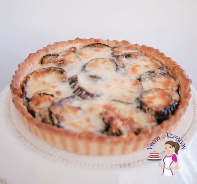 This cheesy eggplant and onion quiche is simple easy & super simple to make. It's a great make ahead dish, almost all components can be made the day before.