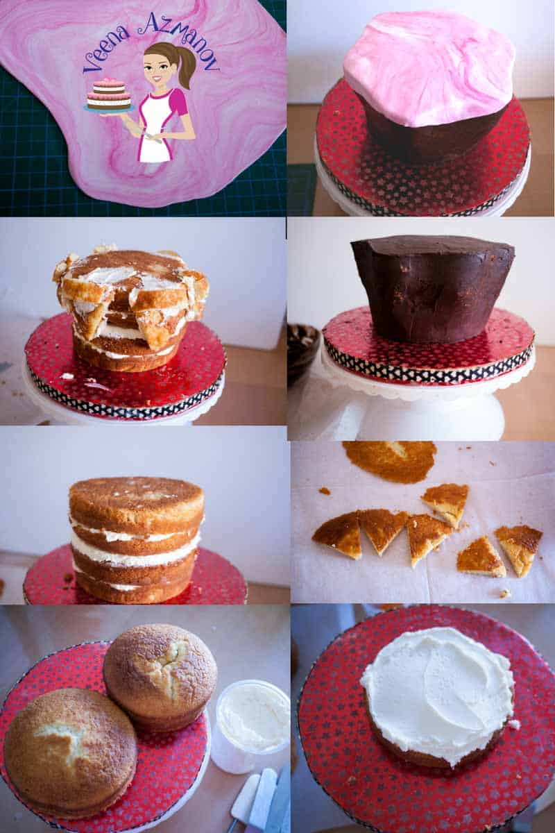 A collage of progress photos of a cake decorated like a big ice cream sundae.