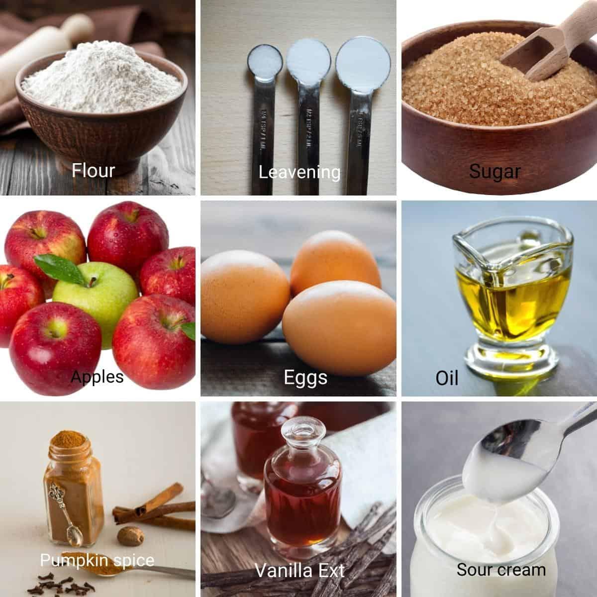 Ingredients for caramel cupcakes.