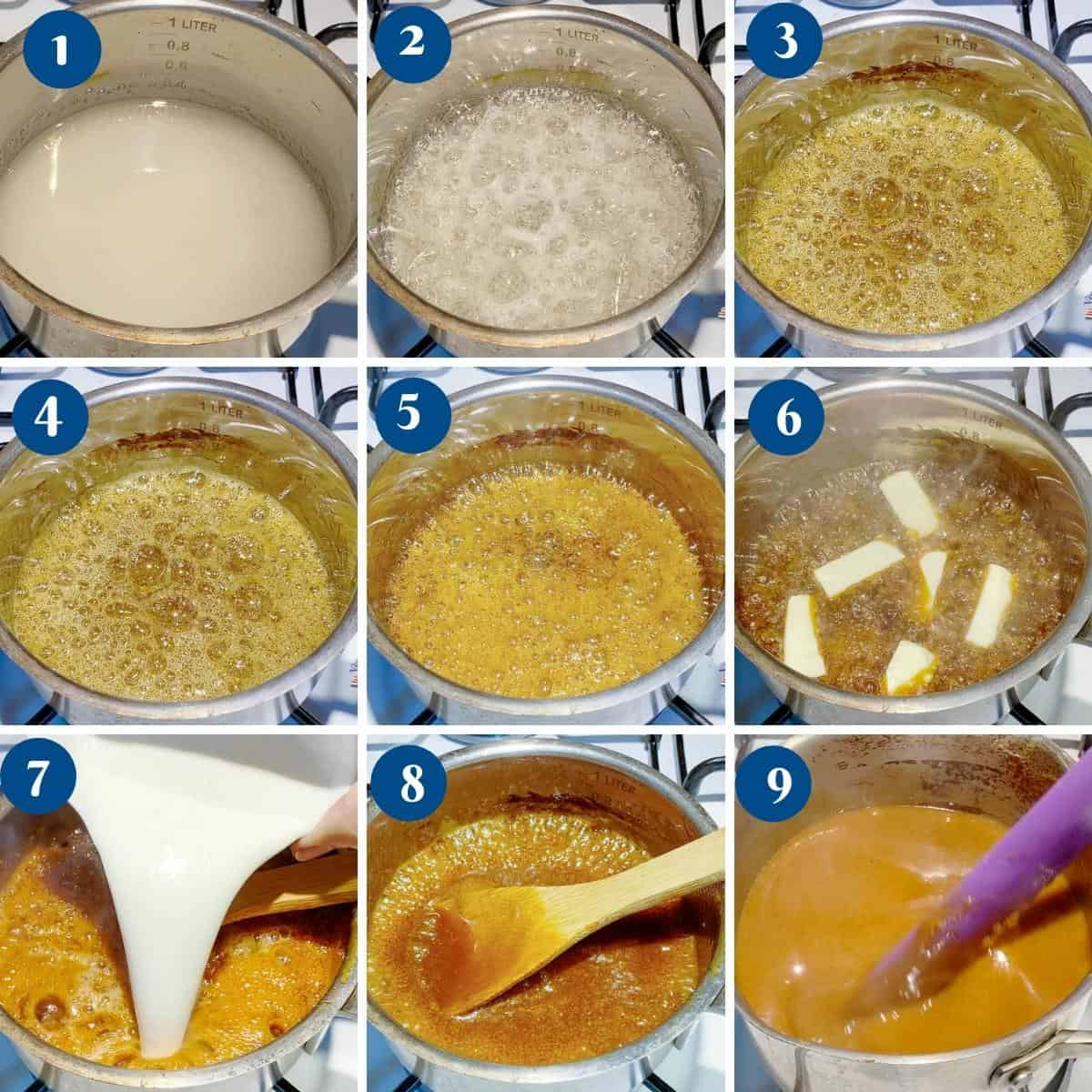 Progress pictures collage for homemade caramel sauce.