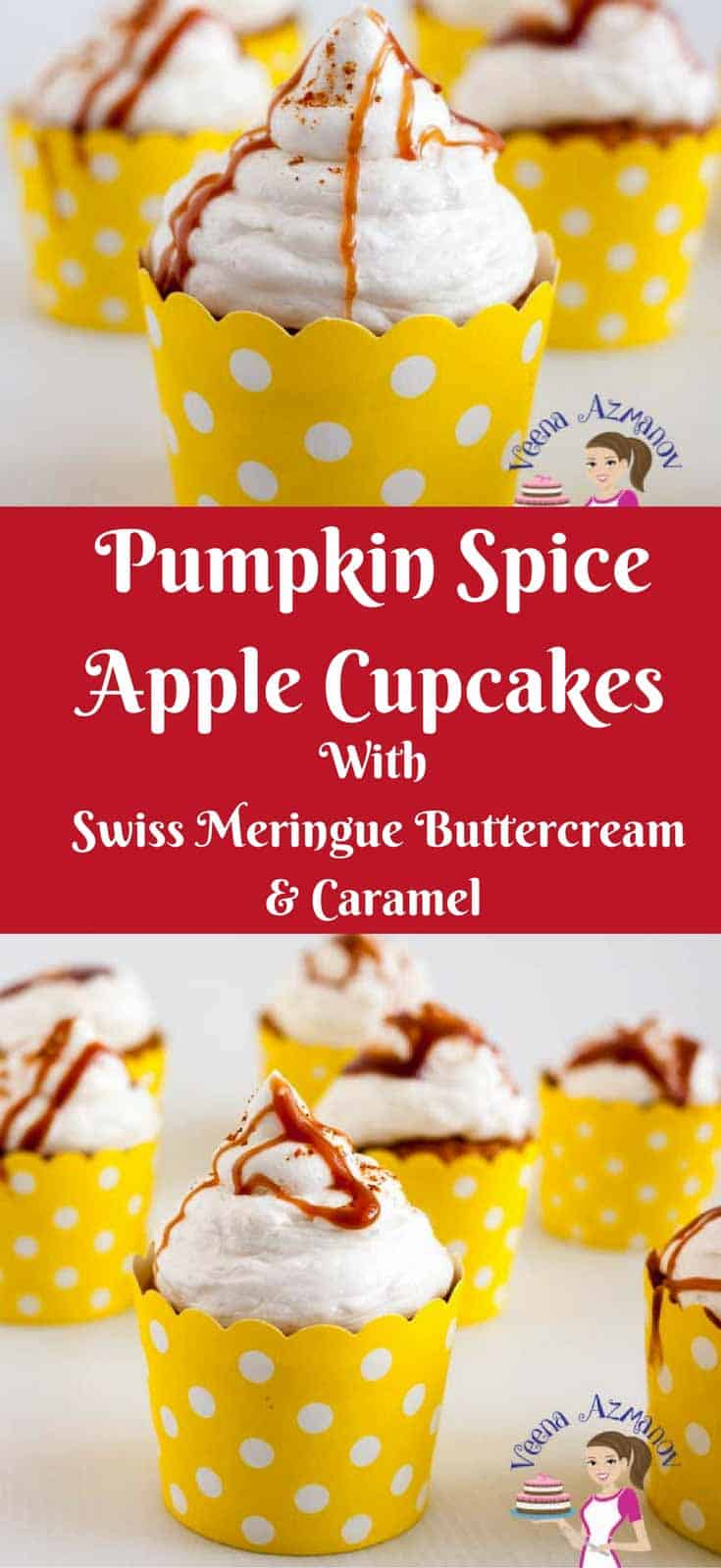 Perfect for the season these pumpkin spiced apple cupcakes with the warm pumpkin spice, velvet buttercream that melts in your mouth and ends with the sweetness of the caramel. #pumpkin #spice #cupcakes #apple #baking