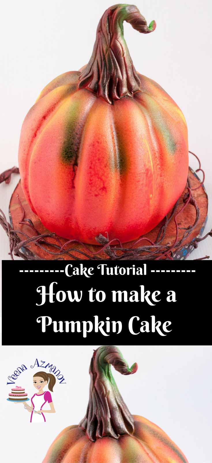 How to make a pumpkin cake -perfect gift for a fall inspired cake. Made with Chocolate Cake American buttercream and covered in fondant then airbrushed to perfection.