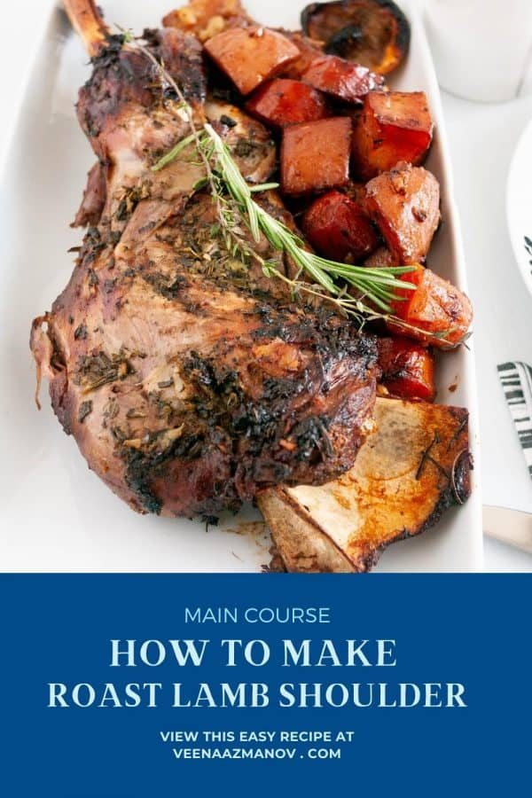 Pinterest image how to make lamb shoulder with red wine.