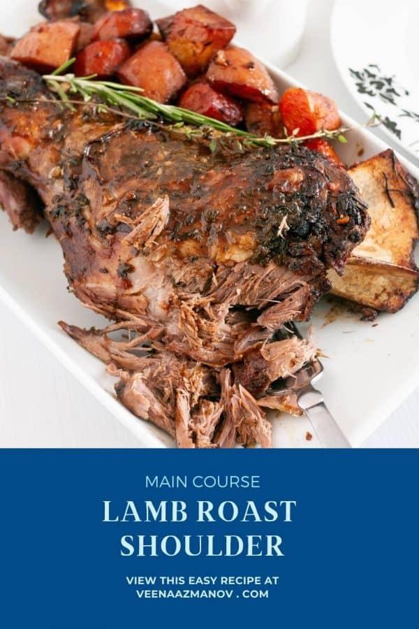 Pinterest image lamb roast.