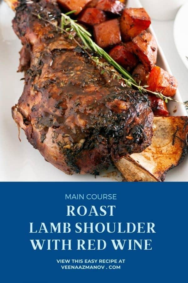 Pinterest image roast lamb shoulder in the oven.