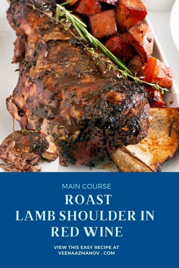 Pinterest image for lamb shoulder.
