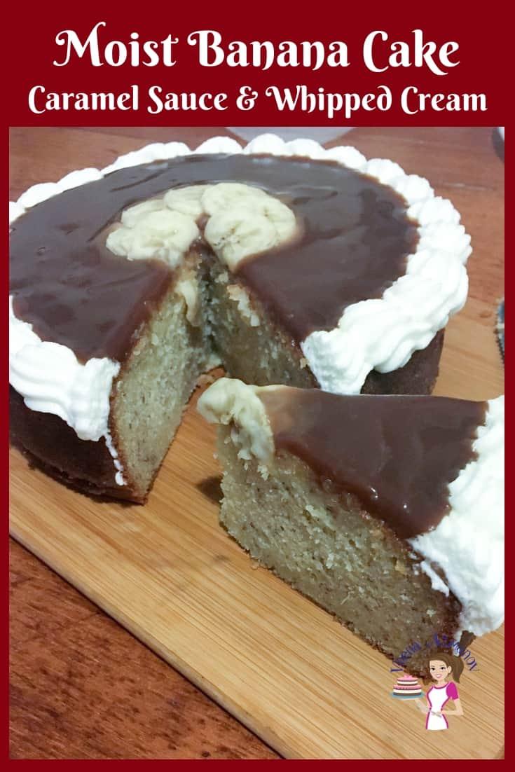 Moist cake, banana, caramel sauce, coffee cake, tea cake, whipped cream