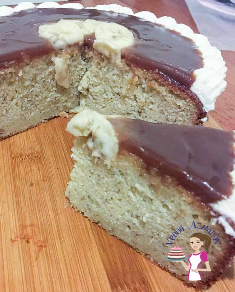 A slice of caramel banana cake.