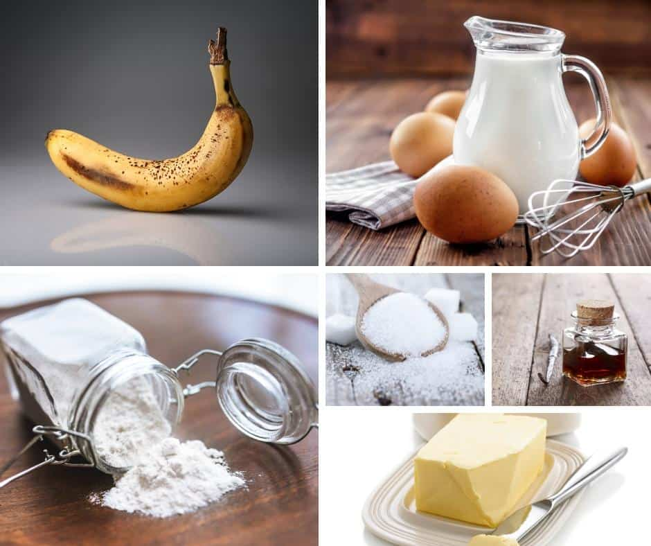 A collage of the ingredients for making a banana cake.