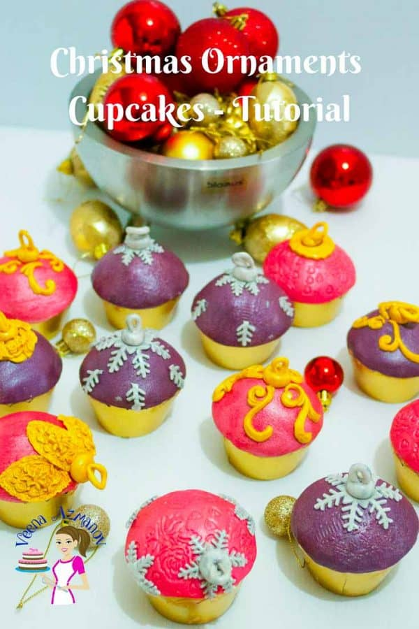Cupcakes decorated like Christmas ornaments.