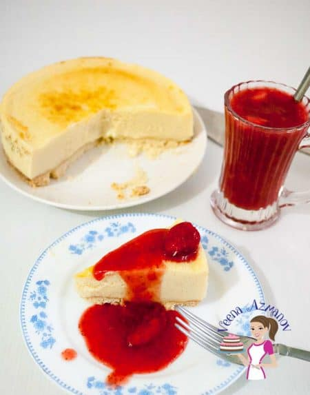 One of our family all time favorite Cheesecakes is Strawberry Cheesecake and we have two favorites, one with the jello topping and the other is this strawberry compote that just melts in your mouth.